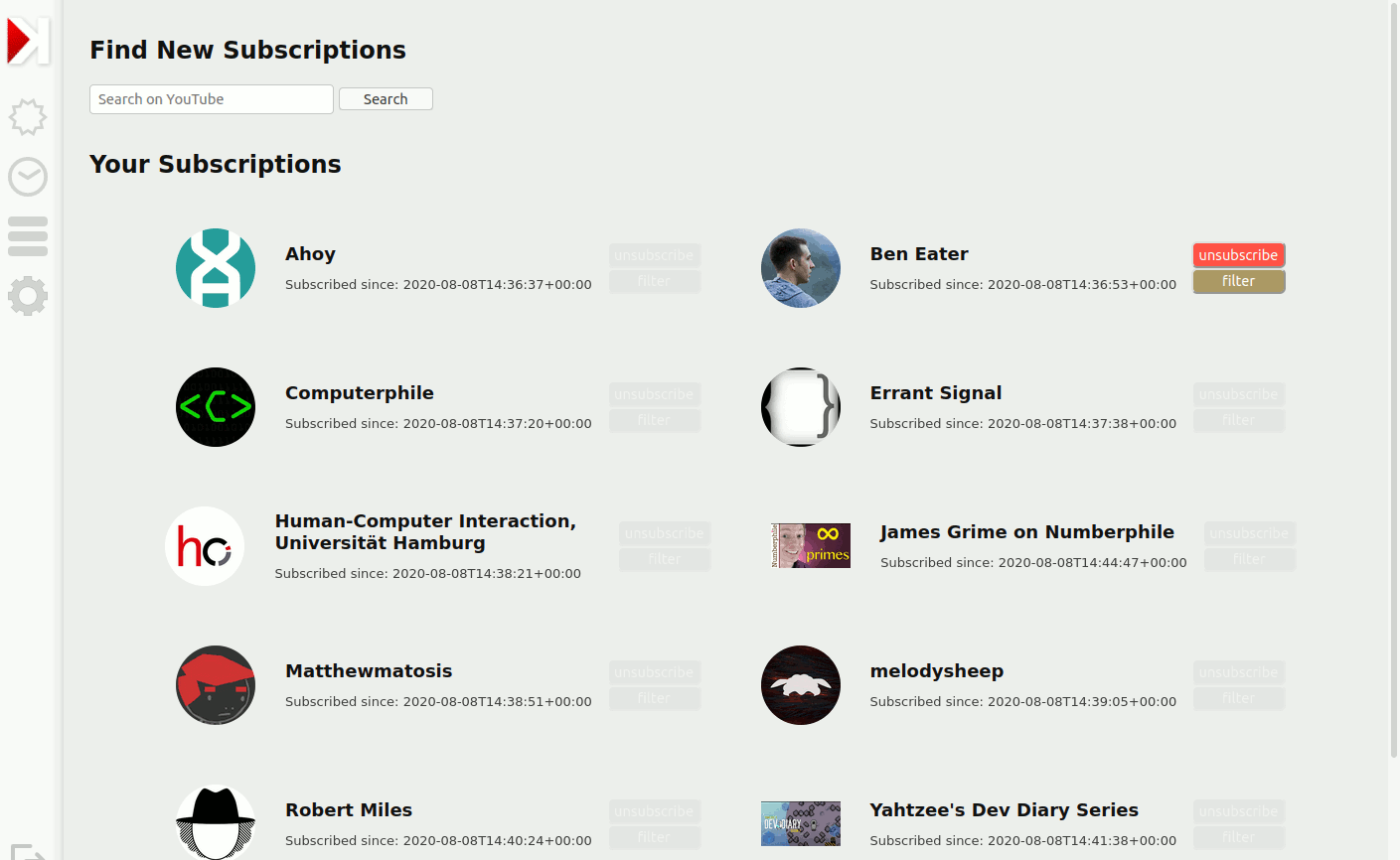 The subscription management screen shows a list of subscriptions with buttons to unsubscribe or filter, as well as a field to search on YouTube