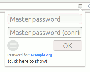 PasswordShaker popup window showing the master password entry fields, metadata for the current site, and an OK button